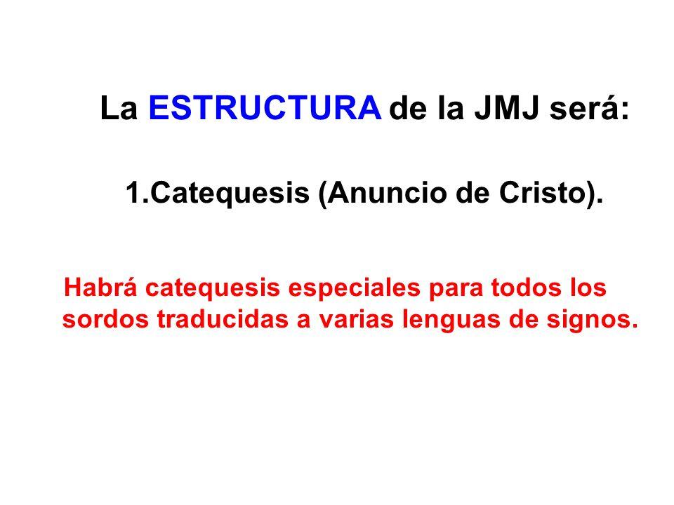 La ESTRUCTURA de la JMJ será: 1.Catequesis (Anuncio de Cristo).