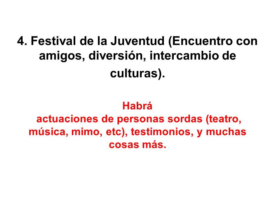4. Festival de la Juventud (Encuentro con amigos, diversión, intercambio de culturas).