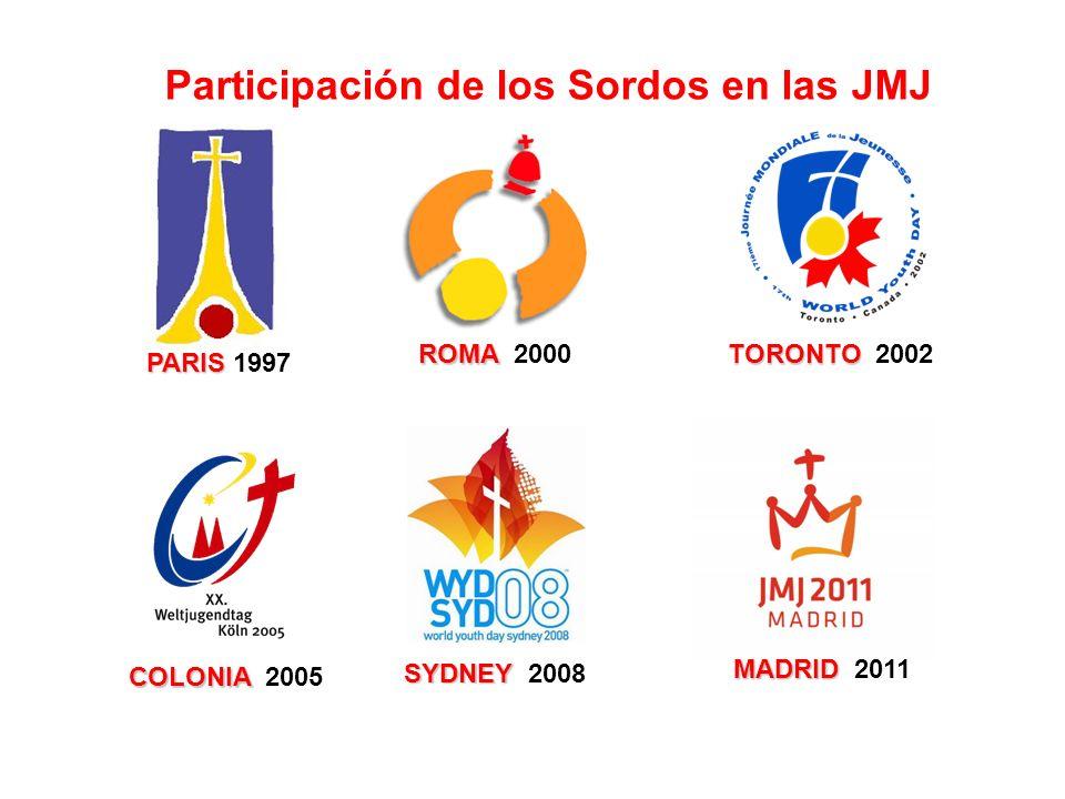 PARIS PARIS 1997 Participación de los Sordos en las JMJ ROMA ROMA 2000 TORONTO TORONTO 2002 COLONIA COLONIA 2005 SYDNEY SYDNEY 2008 MADRID MADRID 2011