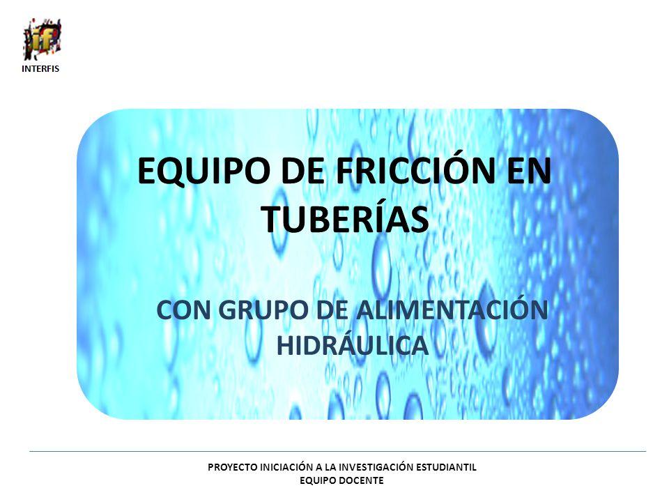 EQUIPO DE FRICCIÓN EN TUBERÍAS CON GRUPO DE ALIMENTACIÓN HIDRÁULICA PROYECTO INICIACIÓN A LA INVESTIGACIÓN ESTUDIANTIL EQUIPO DOCENTE
