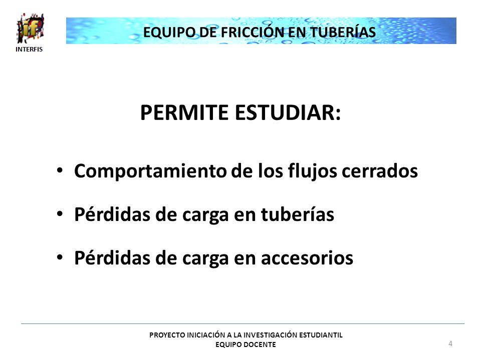 PERMITE ESTUDIAR: Comportamiento de los flujos cerrados Pérdidas de carga en tuberías Pérdidas de carga en accesorios EQUIPO DE FRICCIÓN EN TUBERÍAS P