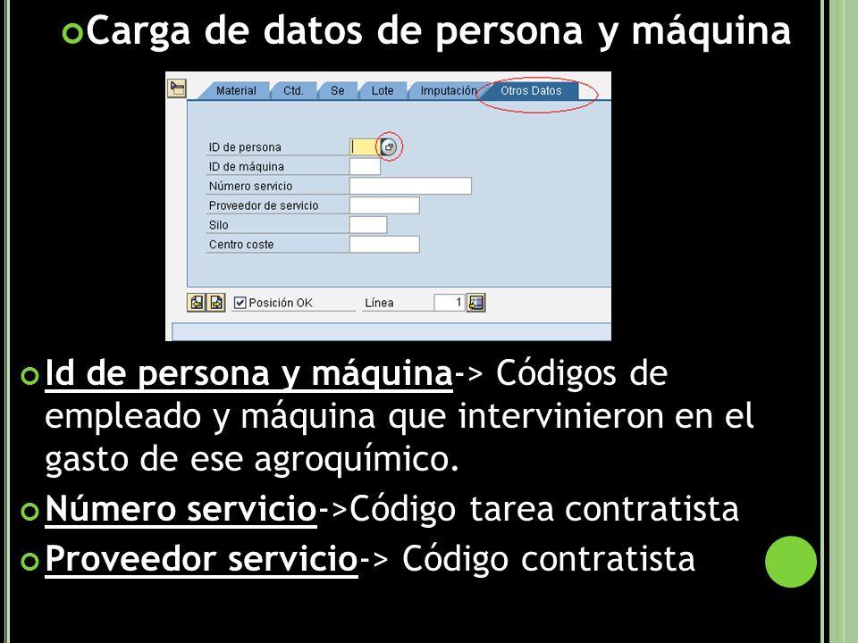 Carga de datos de persona y máquina Id de persona y máquina-> Códigos de empleado y máquina que intervinieron en el gasto de ese agroquímico.