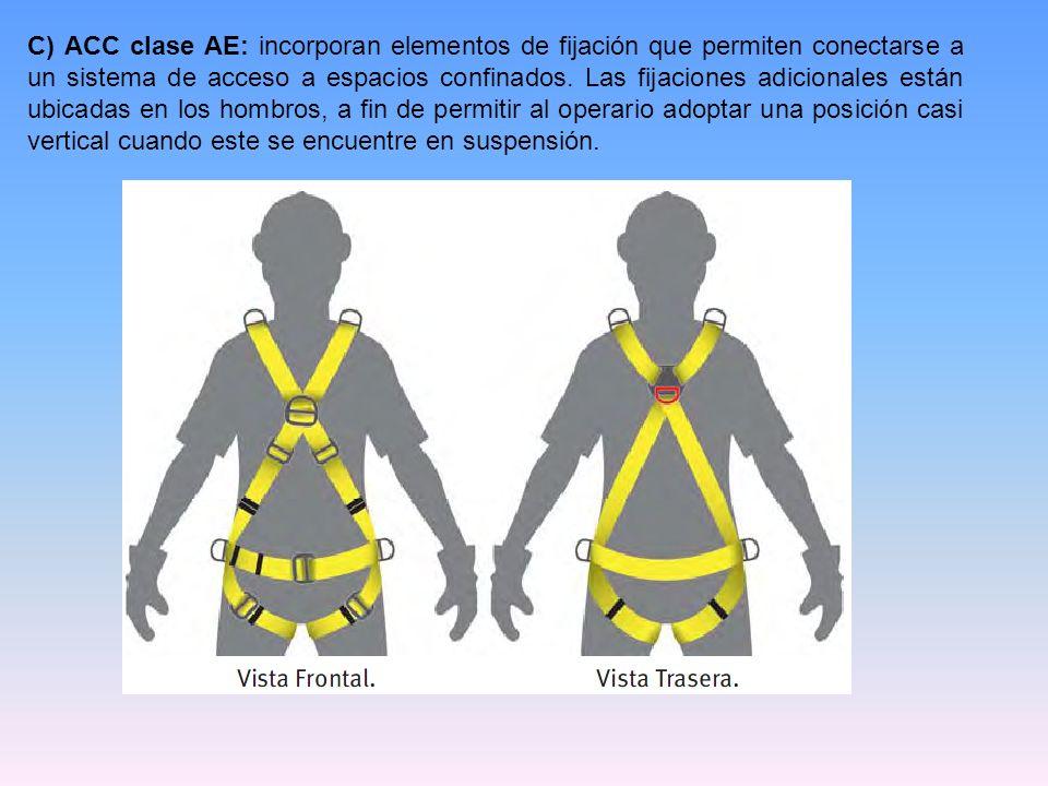C) ACC clase AE: incorporan elementos de fijación que permiten conectarse a un sistema de acceso a espacios confinados. Las fijaciones adicionales est