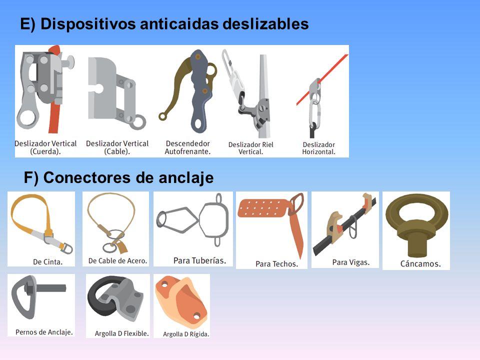E) Dispositivos anticaidas deslizables F) Conectores de anclaje