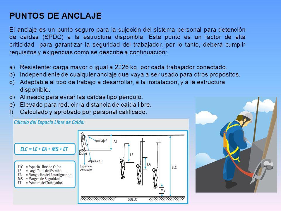 PUNTOS DE ANCLAJE El anclaje es un punto seguro para la sujeción del sistema personal para detención de caídas (SPDC) a la estructura disponible. Este