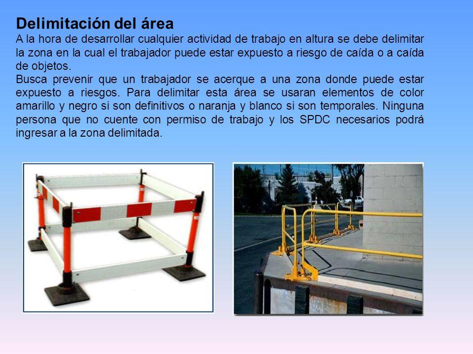 Delimitación del área A la hora de desarrollar cualquier actividad de trabajo en altura se debe delimitar la zona en la cual el trabajador puede estar