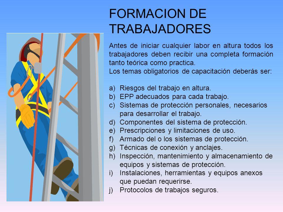 FORMACION DE TRABAJADORES Antes de iniciar cualquier labor en altura todos los trabajadores deben recibir una completa formación tanto teórica como pr