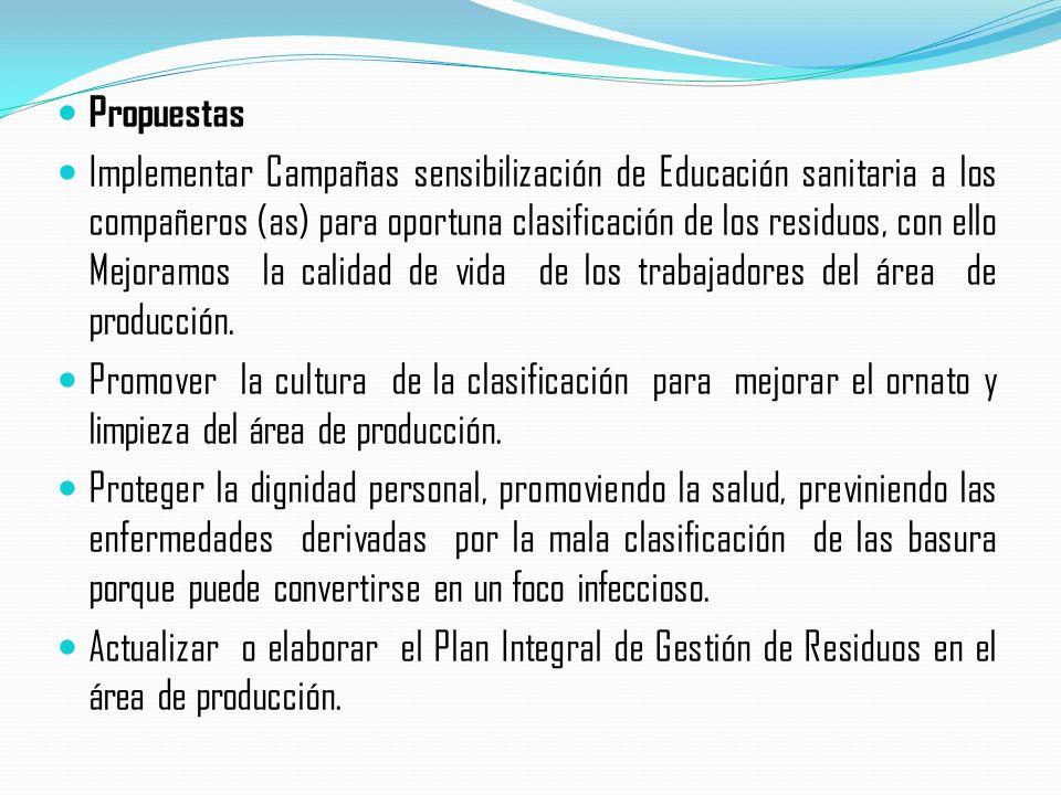 Propuestas Implementar Campañas sensibilización de Educación sanitaria a los compañeros (as) para oportuna clasificación de los residuos, con ello Mejoramos la calidad de vida de los trabajadores del área de producción.