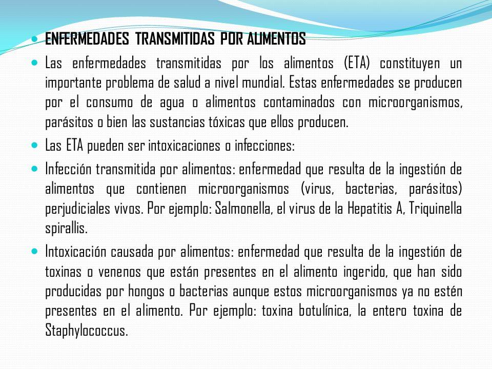 ENFERMEDADES TRANSMITIDAS POR ALIMENTOS Las enfermedades transmitidas por los alimentos (ETA) constituyen un importante problema de salud a nivel mund