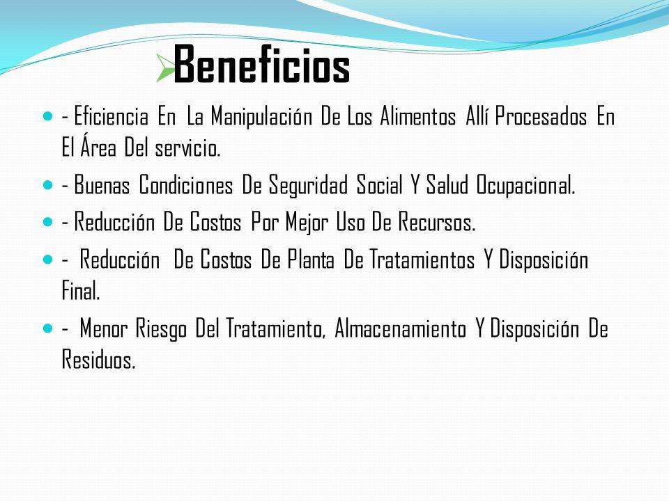 Beneficios - Eficiencia En La Manipulación De Los Alimentos Allí Procesados En El Área Del servicio. - Buenas Condiciones De Seguridad Social Y Salud