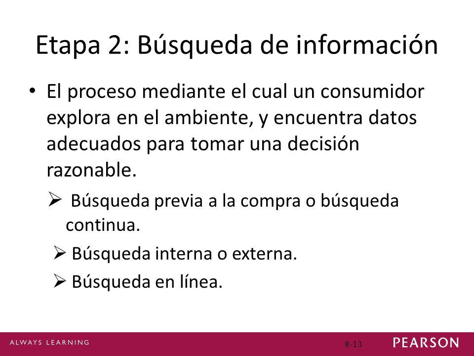 8-13 Etapa 2: Búsqueda de información El proceso mediante el cual un consumidor explora en el ambiente, y encuentra datos adecuados para tomar una dec