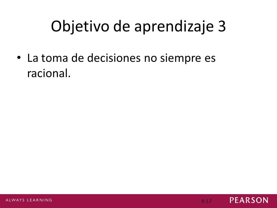 Objetivo de aprendizaje 3 La toma de decisiones no siempre es racional. 8-17