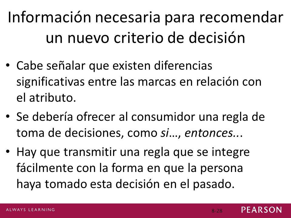 8-28 Información necesaria para recomendar un nuevo criterio de decisión Cabe señalar que existen diferencias significativas entre las marcas en relac