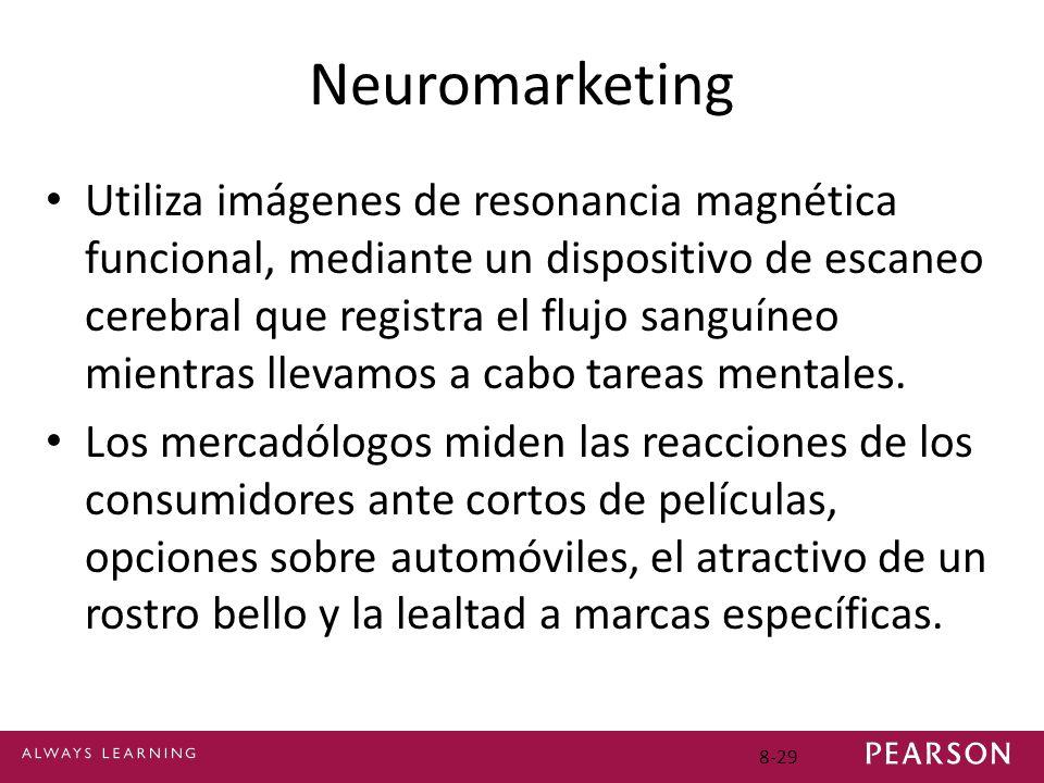8-29 Neuromarketing Utiliza imágenes de resonancia magnética funcional, mediante un dispositivo de escaneo cerebral que registra el flujo sanguíneo mi