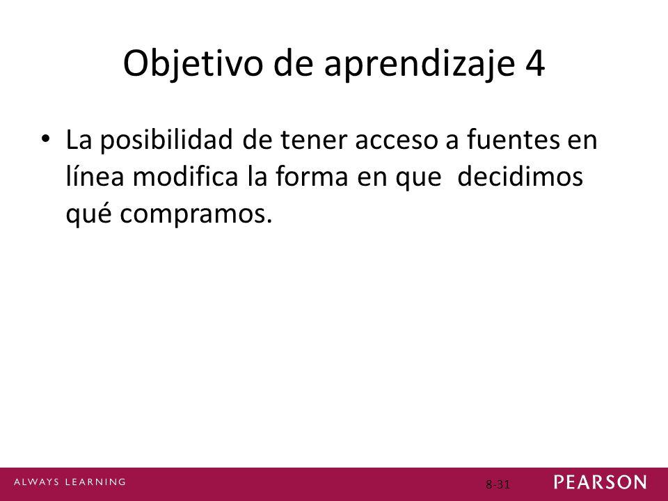 Objetivo de aprendizaje 4 La posibilidad de tener acceso a fuentes en línea modifica la forma en que decidimos qué compramos. 8-31