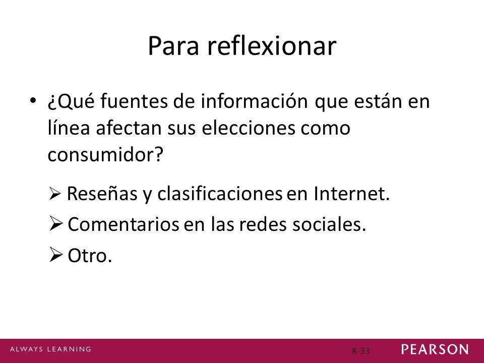 Para reflexionar ¿Qué fuentes de información que están en línea afectan sus elecciones como consumidor? Reseñas y clasificaciones en Internet. Comenta