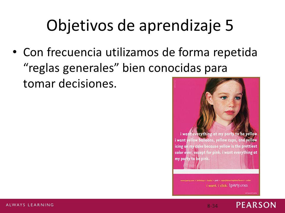 Objetivos de aprendizaje 5 Con frecuencia utilizamos de forma repetida reglas generales bien conocidas para tomar decisiones. 8-34