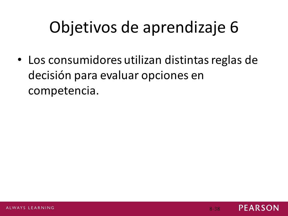 Objetivos de aprendizaje 6 Los consumidores utilizan distintas reglas de decisión para evaluar opciones en competencia. 8-38