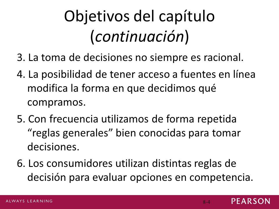 8-4 Objetivos del capítulo (continuación) 3. La toma de decisiones no siempre es racional. 4. La posibilidad de tener acceso a fuentes en línea modifi