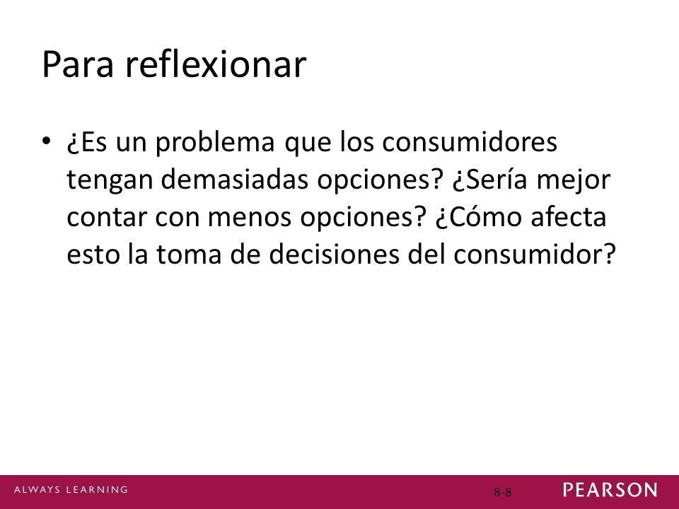 Para reflexionar ¿Es un problema que los consumidores tengan demasiadas opciones? ¿Sería mejor contar con menos opciones? ¿Cómo afecta esto la toma de