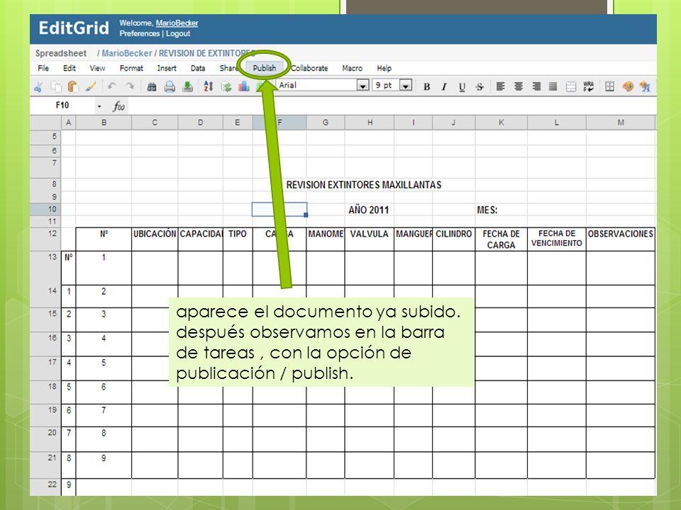 aparece el documento ya subido. después observamos en la barra de tareas, con la opción de publicación / publish.