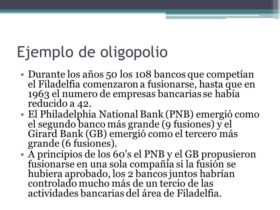 Ejemplo de oligopolio Durante los años 50 los 108 bancos que competían el Filadelfia comenzaron a fusionarse, hasta que en 1963 el numero de empresas