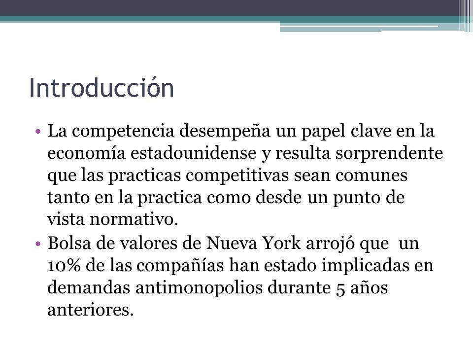 Introducción La competencia desempeña un papel clave en la economía estadounidense y resulta sorprendente que las practicas competitivas sean comunes