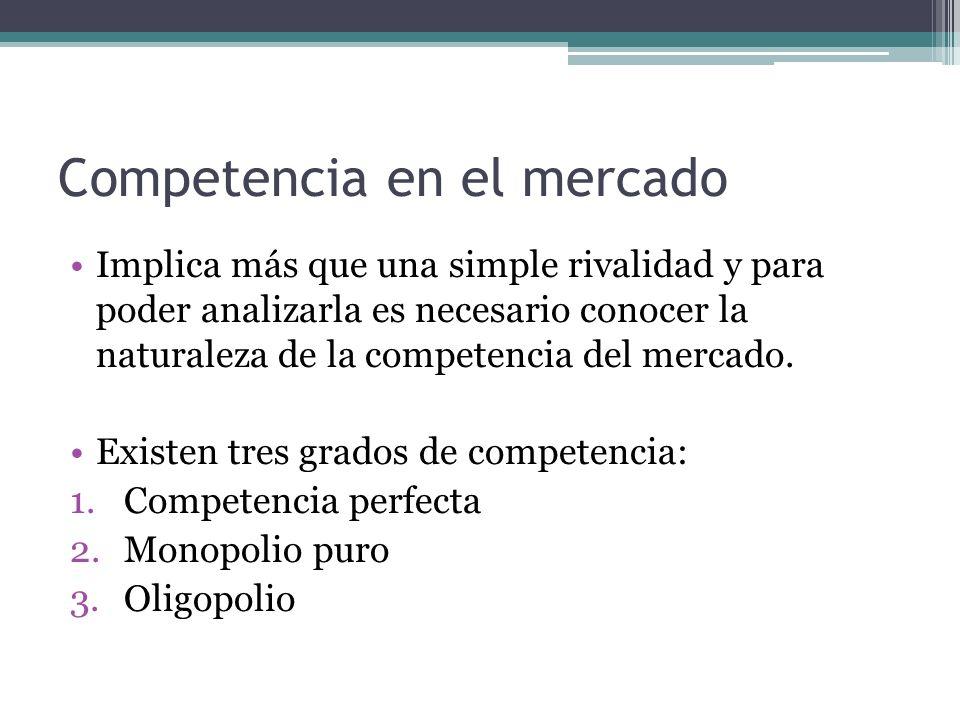 Competencia en el mercado Implica más que una simple rivalidad y para poder analizarla es necesario conocer la naturaleza de la competencia del mercad