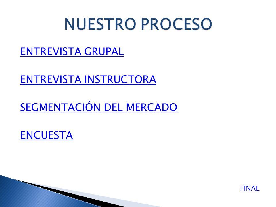 ENTREVISTA GRUPAL ENTREVISTA INSTRUCTORA SEGMENTACIÓN DEL MERCADO ENCUESTA FINAL