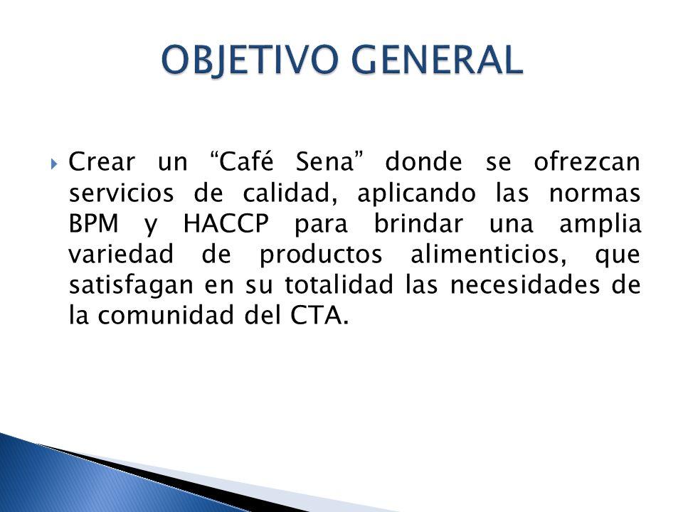 Crear un Café Sena donde se ofrezcan servicios de calidad, aplicando las normas BPM y HACCP para brindar una amplia variedad de productos alimenticios