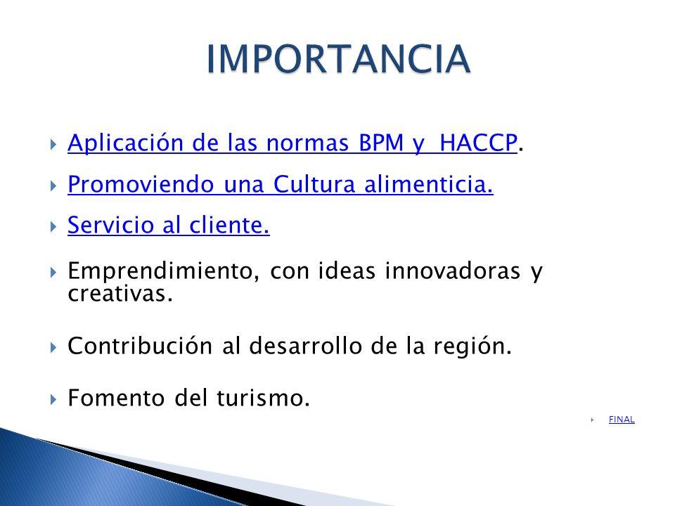Aplicación de las normas BPM y HACCP. Aplicación de las normas BPM y HACCP Promoviendo una Cultura alimenticia. Servicio al cliente. Emprendimiento, c