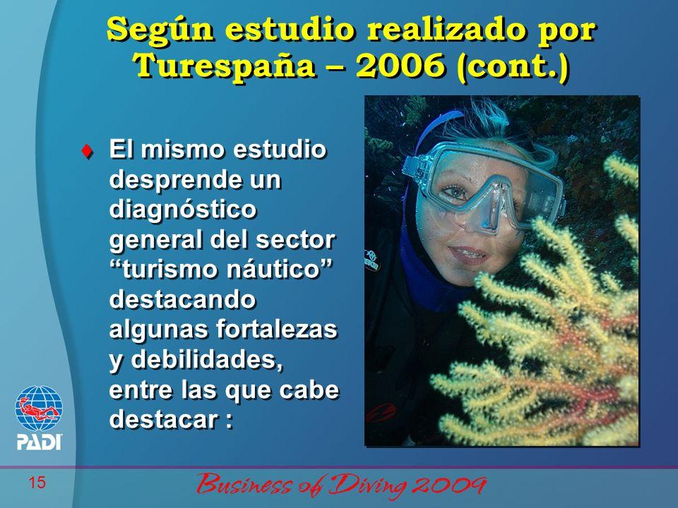 15 Según estudio realizado por Turespaña – 2006 (cont.) t El mismo estudio desprende un diagnóstico general del sector turismo náutico destacando algu