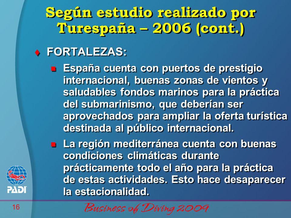 16 Según estudio realizado por Turespaña – 2006 (cont.) t FORTALEZAS: n España cuenta con puertos de prestigio internacional, buenas zonas de vientos