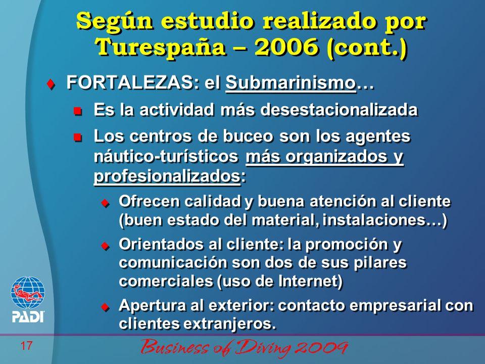 17 Según estudio realizado por Turespaña – 2006 (cont.) t FORTALEZAS: el Submarinismo… n Es la actividad más desestacionalizada n Los centros de buceo