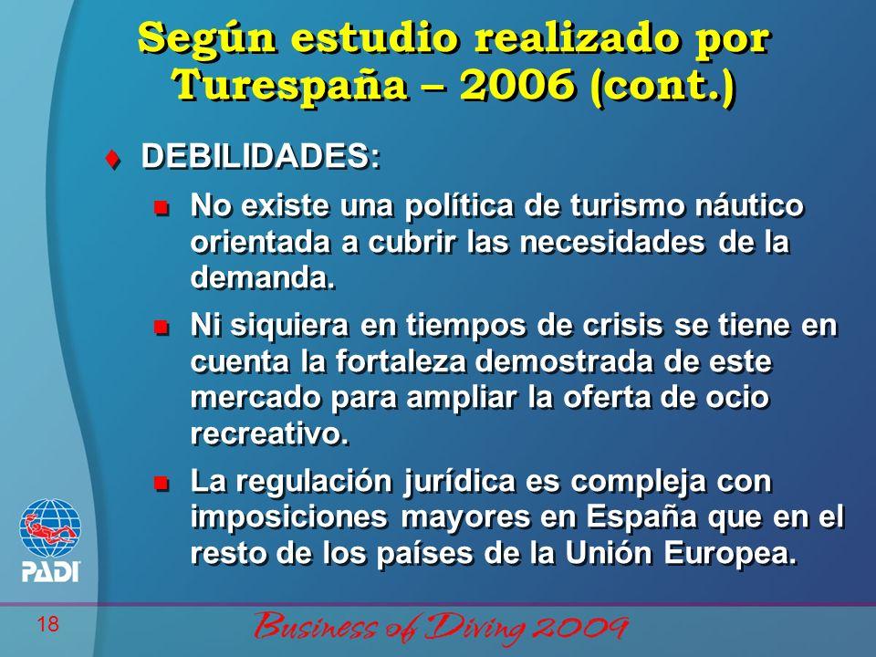 18 Según estudio realizado por Turespaña – 2006 (cont.) t DEBILIDADES: n No existe una política de turismo náutico orientada a cubrir las necesidades de la demanda.