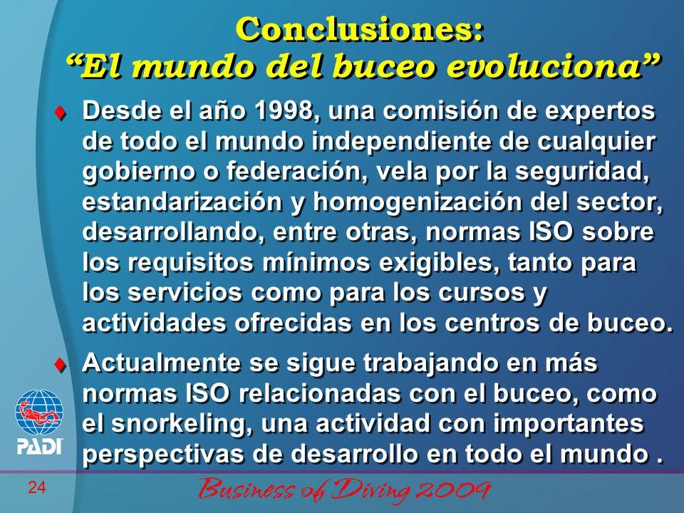 24 Conclusiones: El mundo del buceo evoluciona t Desde el año 1998, una comisión de expertos de todo el mundo independiente de cualquier gobierno o fe