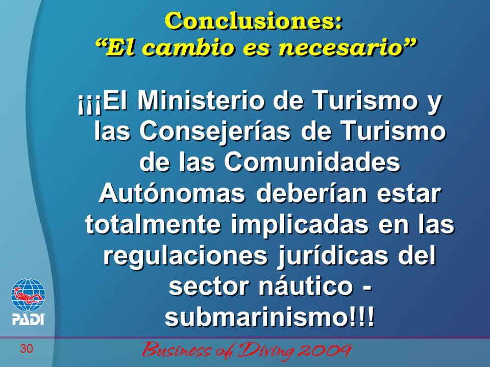 30 Conclusiones: El cambio es necesario ¡¡¡El Ministerio de Turismo y las Consejerías de Turismo de las Comunidades Autónomas deberían estar totalmente implicadas en las regulaciones jurídicas del sector náutico - submarinismo!!!