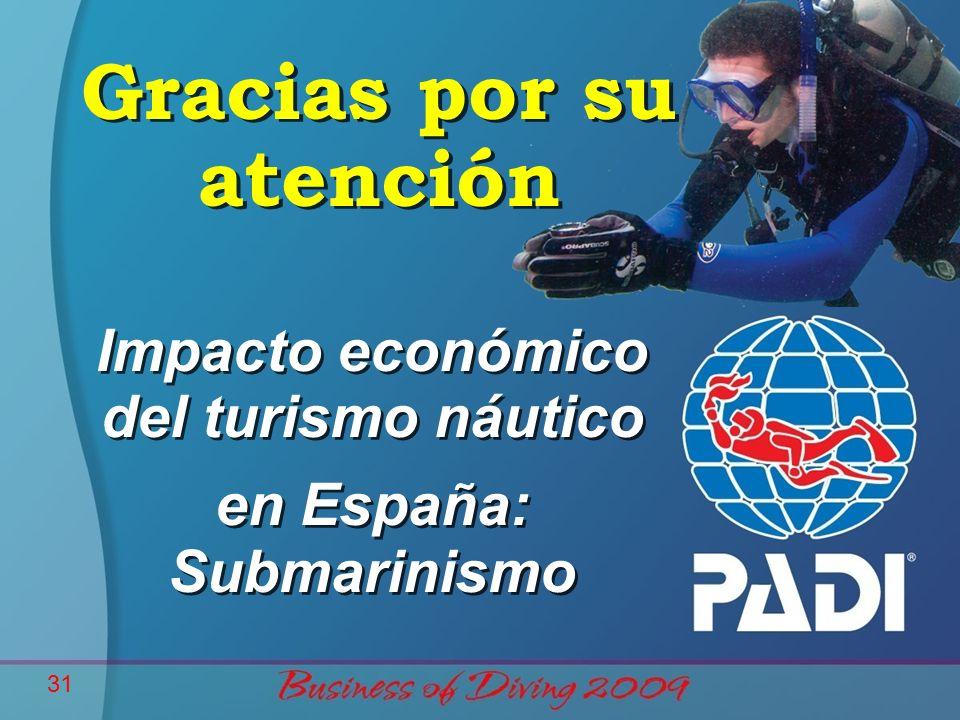 31 Gracias por su atención Impacto económico del turismo náutico en España: Submarinismo Impacto económico del turismo náutico en España: Submarinismo