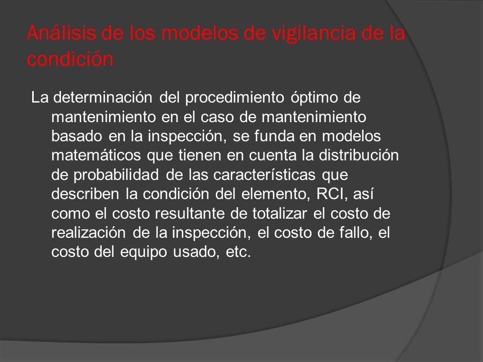 Análisis de los modelos de vigilancia de la condición La determinación del procedimiento óptimo de mantenimiento en el caso de mantenimiento basado en