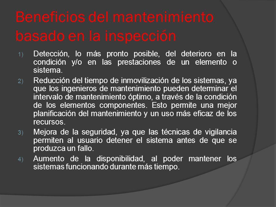 Beneficios del mantenimiento basado en la inspección 1) Detección, lo más pronto posible, del deterioro en la condición y/o en las prestaciones de un
