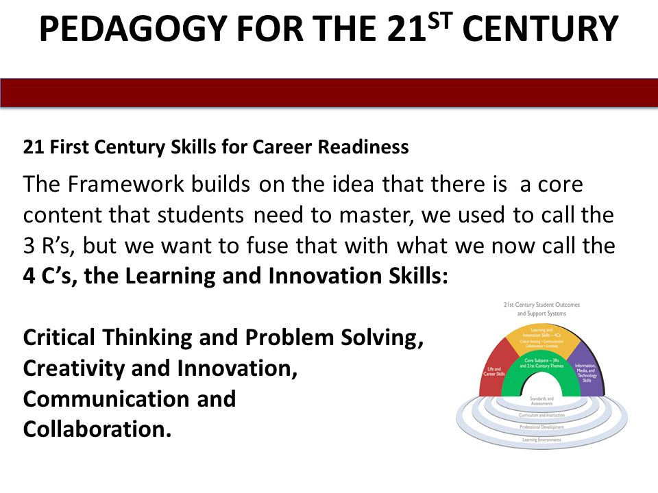 PEDAGOGY FOR THE 21 ST CENTURY The Framework builds on the idea that there is a core content that students need to master, we used to call the 3 Rs, but we want to fuse that with what we now call the 4 Cs, the Learning and Innovation Skills: Critical Thinking and Problem Solving, Creativity and Innovation, Communication and Collaboration.