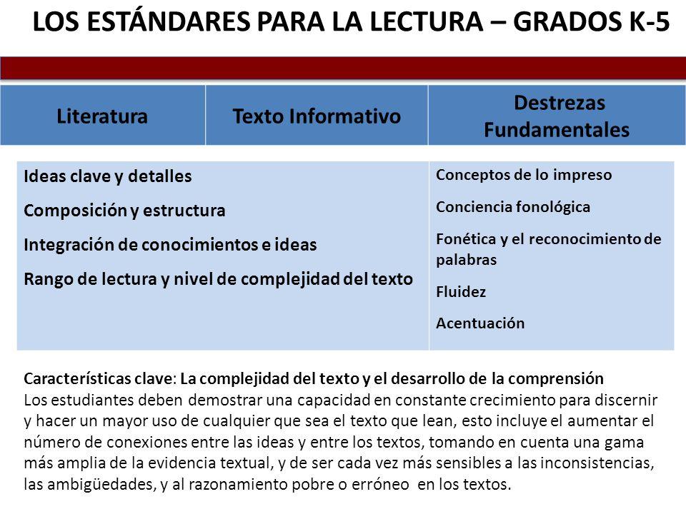 LOS ESTÁNDARES PARA LA LECTURA – GRADOS K-5 LiteraturaTexto Informativo Destrezas Fundamentales Ideas clave y detalles Composición y estructura Integr
