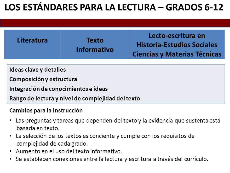 LOS ESTÁNDARES PARA LA LECTURA – GRADOS 6-12 LiteraturaTexto Informativo Lecto-escritura en Historia-Estudios Sociales Ciencias y Materias Técnicas Id