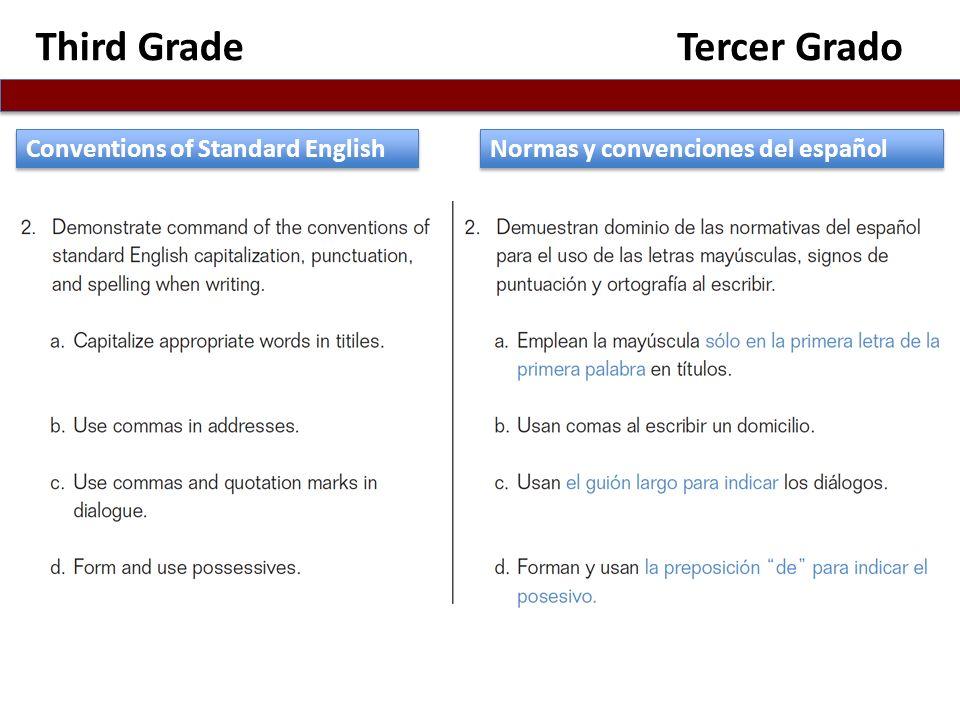 Third GradeTercer Grado Normas y convenciones del español Conventions of Standard English