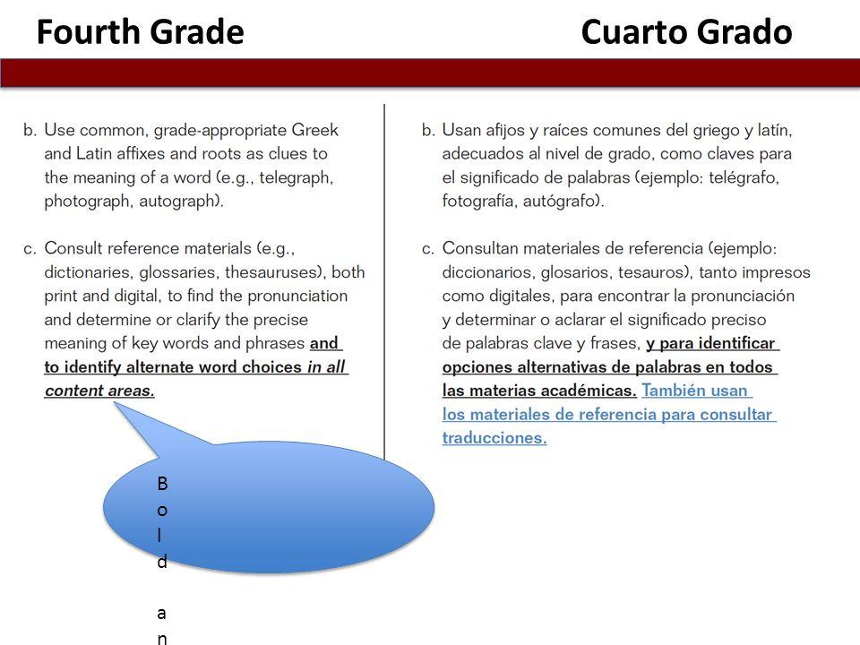 Fourth GradeCuarto Grado B o l d a n d u n d e r l i n e d t e x t R e p r e s e n t s C a l i f o r n i a s 1 5 % A d d i t i o n t o C o m m o n C o