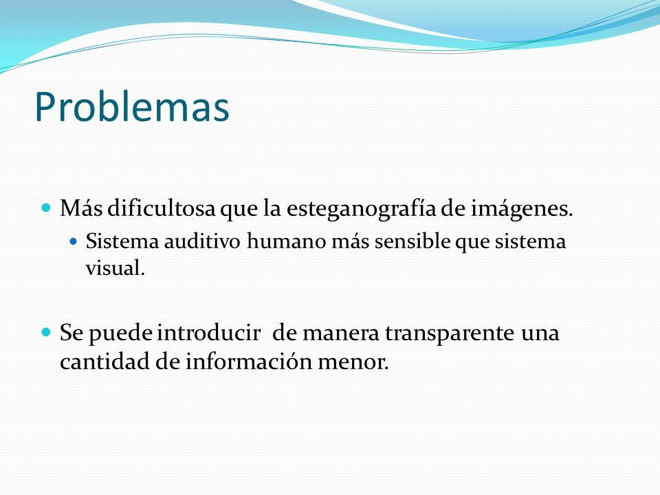 Problemas Más dificultosa que la esteganografía de imágenes. Sistema auditivo humano más sensible que sistema visual. Se puede introducir de manera tr