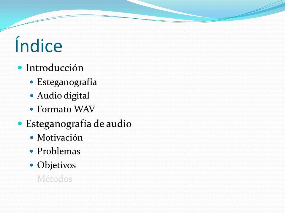 Índice Introducción Esteganografía Audio digital Formato WAV Esteganografía de audio Motivación Problemas Objetivos Métodos
