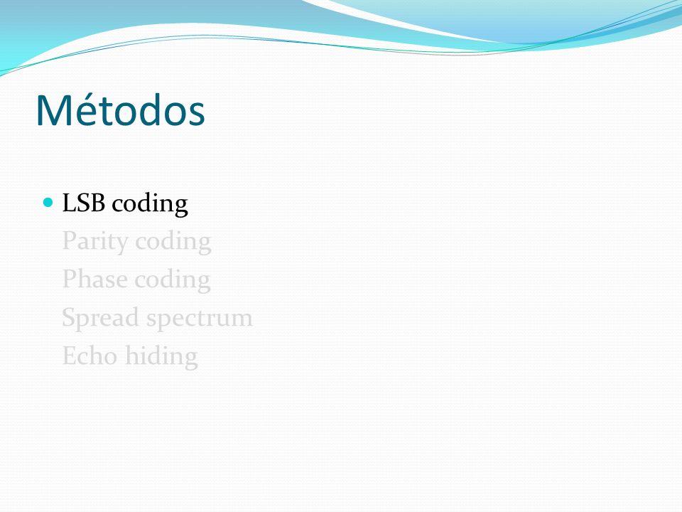 Métodos LSB coding Parity coding Phase coding Spread spectrum Echo hiding