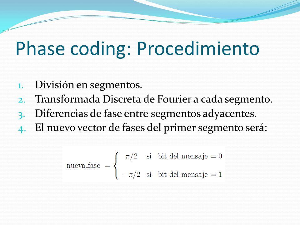 Phase coding: Procedimiento 1. División en segmentos. 2. Transformada Discreta de Fourier a cada segmento. 3. Diferencias de fase entre segmentos adya