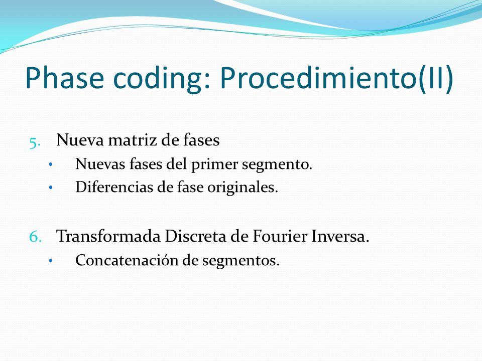 Phase coding: Procedimiento(II) 5. Nueva matriz de fases Nuevas fases del primer segmento. Diferencias de fase originales. 6. Transformada Discreta de